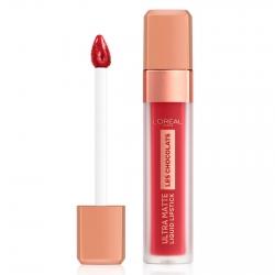L'Oréal Paris Les Chocolats Ultra Matte Liquid Lipstick Tinta Labbra Colore 864 Tasty Ruby Profumo al Cioccolato
