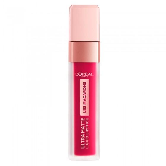 L'Oréal Paris Les Macarons Ultra Matte Liquid Lipstick Tinta Labbra Colore 838 Berry Cherie Profumo di Confetto alla Mandorla