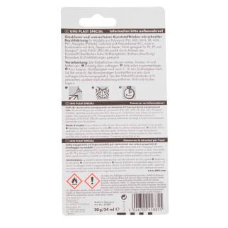 UHU Plast Special Adesivo per Materiale Plastico - Flacone con Ugello Fine a Spillo 34ml