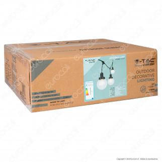 V-Tac VT-720S Catenaria 3 metri IP65 Colore Nero per 6 Lampadine LED E27 per Esterno con Diffusori Trasparenti - SKU 8971
