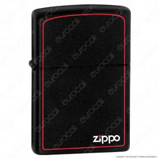 Accendino Zippo Mod. 218-ZB Nero Matte Bordo Rosso - Ricaricabile Antivento