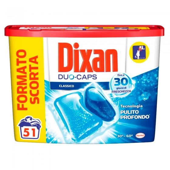 Dixan Duo Caps Classico Detersivo in Capsule per Lavatrice - Confezione da 51 Capsule