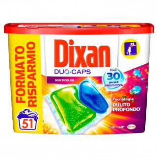 Dixan Duo Caps Multicolor Detersivo in Capsule per Lavatrice - Confezione da 51 Capsule