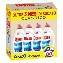 Dixan Liquido Classico Pulito Profondo Detersivo per Lavatrice - Confezione da 4 Flaconi