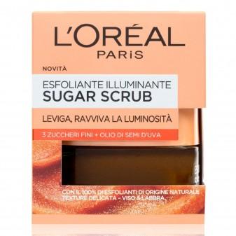 L'Oréal Paris Sugar Scrub Viso e Labbra Esfoliante Illuminante con Olio di Semi d'Uva