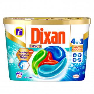 Dixan Discs Azione Anti Odore 4in1 Detersivo per Lavatrice - Confezione da 36 Capsule