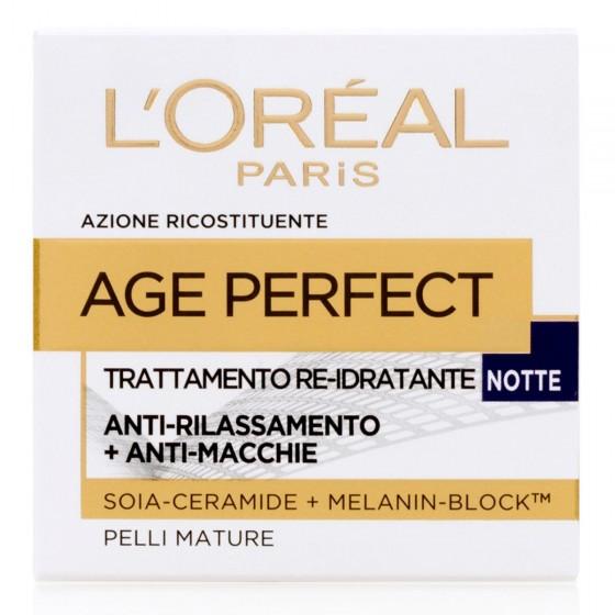 L'Oréal Paris Age Perfect Crema Viso Re-Idratante Notte con Melanin-Block