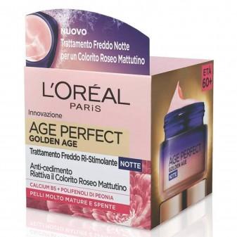 L'Oréal Paris Age Perfect Golden Age Crema Viso Ri-Stimolante Notte con Polifenoli di Peonia