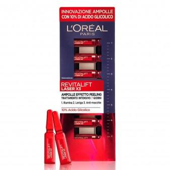L'Oréal Paris Revitalift Laser X3 Ampolle Effetto Peeling Viso Trattamento Intensivo con Acido Glicolico