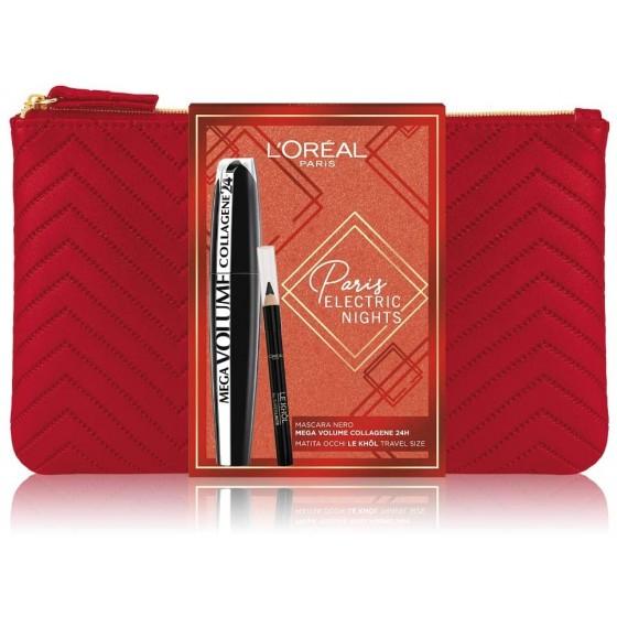 L'Oréal Paris Electric Nights Pochette Mega Volume Collagene 24h + Minimatita Le Khol Formato Viaggio