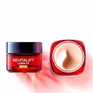 L'Oréal Paris Revitalift Laser X3 Trattamento Profondo Anti-Età SPF20 con Acido Ialuronico e Pro-Xylane