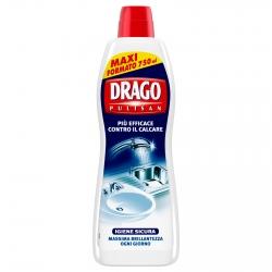 Drago Pulisan Anticalcare in Crema Igiene Sicura per Pavimenti Superfici e Stoviglie - Flacone da 750ml