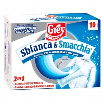 Grey Sbianca e Smacchia Smacchiatore Sbiancante per Lavatrice Tessuti Bianchi - Confezione da 10 Buste