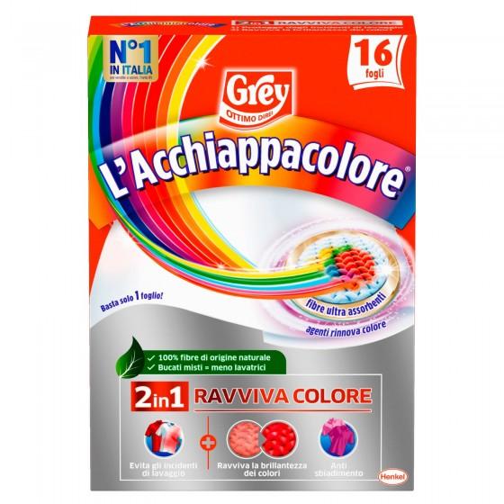 Grey L'Acchiappacolore Ravviva Colore per Lavatrice - Confezione da 16 Fogli