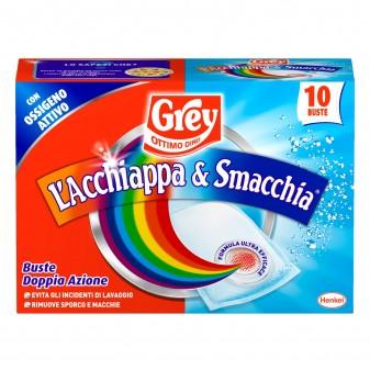 Grey L'Acchiappa e Smacchia per Lavatrice Igienizzante - Confezione da 10 Buste