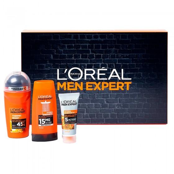 L'Oréal Paris Men Expert Set da Viaggio con Deodorante Thermic Resist Gel Doccia Energizzante e Crema idratante al Guaranà