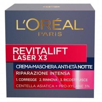 L'Oréal Paris Revitalift Laser X3 Crema-Maschera Viso Notte Anti-Età con Pro-Xylane al 3% e Centella Asiatica