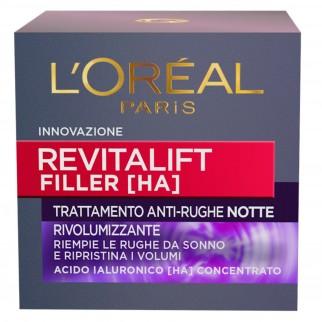 L'Oréal Paris Revitalift Filler [HA] Trattamento Viso Notte Antirughe Rivolumizzante con Acido Ialuronico