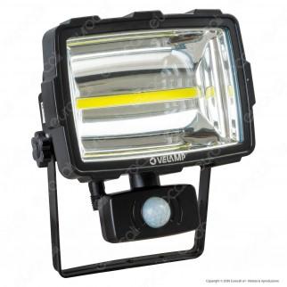 Velamp IS342 Faretto LED COB 10W a Batteria con Carica Solare e Sensore di Movimento - mod. IS342