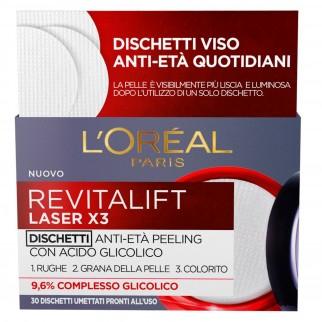 L'Oréal Paris Revitalift Laser X3 Dischetti Umettati Trattamento Effetto Peeling Viso con Acido Glicolico al 9,6%