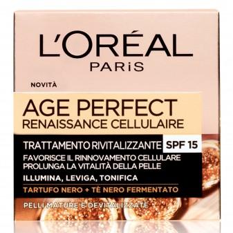 L'Oréal Paris Age Perfect Renaissance Cellulaire Crema Viso Rigenerante SPF15 con Tè Nero