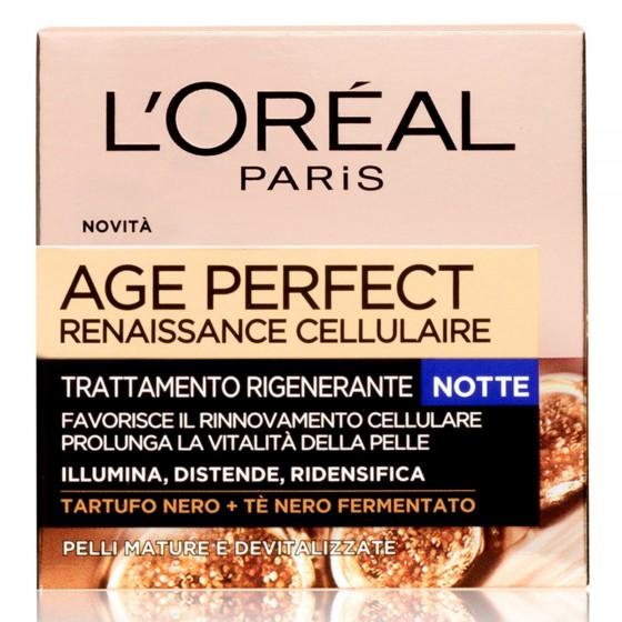 L'Oréal Paris Age Perfect Renaissance Cellulaire Crema Viso Rigenerante Notte con Tè Nero