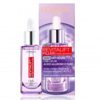 L'Oréal Paris Revitalift Filler Siero Antirughe Rivolumizzante Idratante con Acido Ialuronico