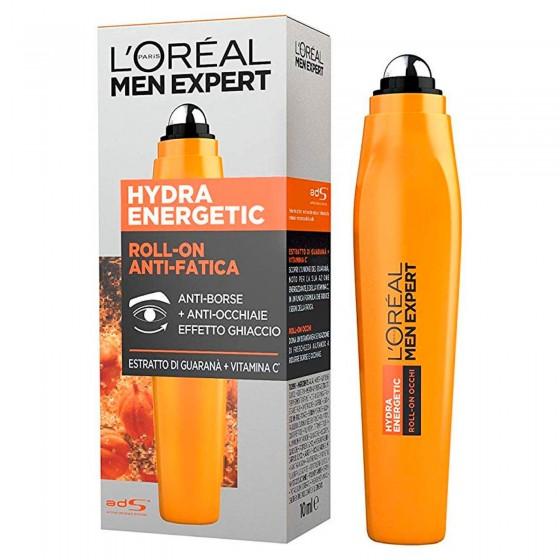 L'Oréal Paris Men Expert Hydra Energetic Roll-On Contorno Occhi Anti-Fatica 24h con Vitamina C e Caffeina