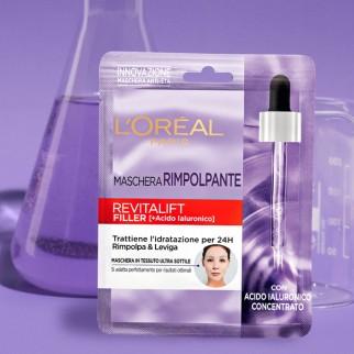 L'Oréal Paris Revitalift Filler Maschera in Tessuto Antirughe Rimpolpante Idratante con Acido Ialuronico
