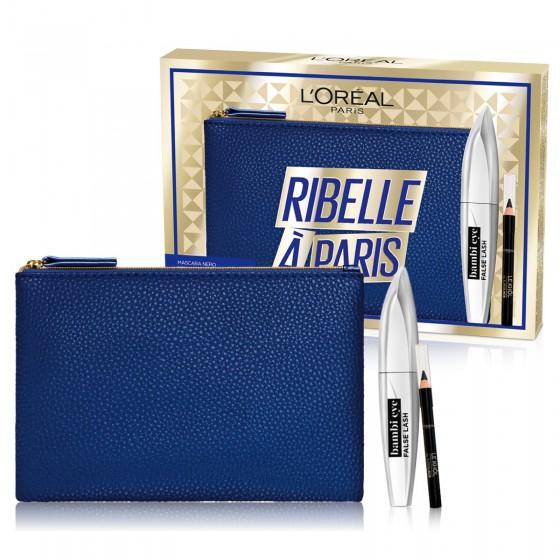 L'Oréal Paris Ribelle à Paris Pochette con Mascara Bamby Eye Volumizzante e Mini Matita Le Khol Nero Intenso