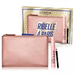 L'Oréal Paris Ribelle à Paris Pochette con Mascara Lash Paradise Volumizzante e Mini Matita Le Khol Nero Intenso
