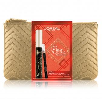 L'Oréal Paris Electric Nights Pochette con Mascara Voluminous Ceramide R e Mini Matita Le Khol Nero Intenso
