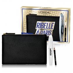 L'Oréal Paris Ribelle à Paris Pochette con Mascara Farfalla False Lash Volumizzante e Mini Matita Le Khol Nero Intenso