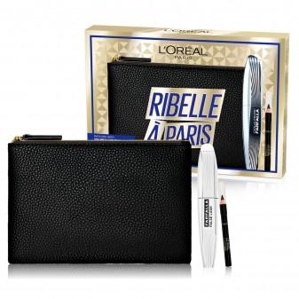 L'Oréal Paris Ribelle à Paris Pochette con Mascara Nero Farfalla False Lash e Mini Matita Le Khol Nero Intenso