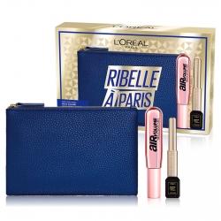L'Oréal Paris Ribelle à Paris Pochette con Mascara Air Mega Volume Volumizzante e Eyeliner Matte Signature Nero Waterproof