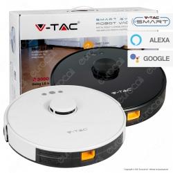 V-Tac VT-5556 Robot Aspirapolvere Lavapavimenti Smart Gyro Ricaricabile con Sensore Laser 360° e Wi-Fi - SKU 8992 / 7933