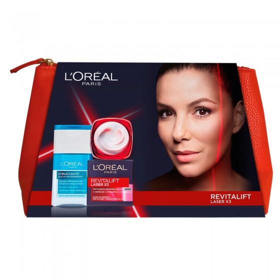 L'Oréal Paris Set Viso con Crema Revitalift Laser X3 Anti-Età con Acido Ialuronico e Struccante Occhi Bifasico Waterproof