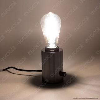 Bot Lighting Shot Lampada da Tavolo con Portalampada per Lampadine LED E27 Dimmerabile Colore Nero Perla - mod. GILDAP