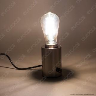Bot Lighting Shot Lampada da Tavolo con Portalampada per Lampadine LED E27 Dimmerabile Colore Metallo Spazzolato - mod. GILDAS