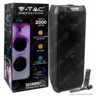 V-Tac Audio VT-6310-2 Soundor 10x2 Cassa Attiva 100W con Bluetooth Karaoke LED RGB Telecomando e Microfono - SKU 8982