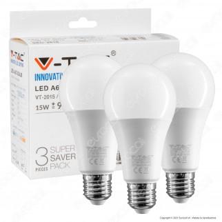 V-Tac VT-2015 Super Saver Pack Confezione 3 Lampadine LED E27 15W Bulb A65 - SKU 2819 / 2820 / 2818