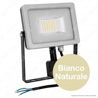 V-Tac VT-4820 PIR Faretto LED 20W Ultra Sottile Slim con Sensore Colore Grigio e Nero