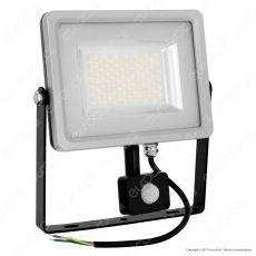 V-Tac VT-4850 PIR Faretto LED 50W Ultra Sottile Slim con Sensore Colore Grigio e Nero