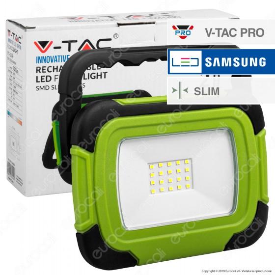 V-Tac PRO VT-10-R Faro LED SMD 10W IP44 Ricaricabile a Batteria con Chip Samsung - SKU 20038 / 503