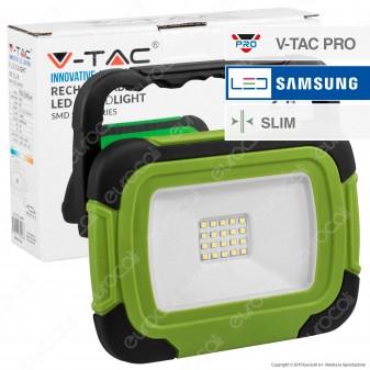 V-Tac PRO VT-11-R Faro LED SMD 10W IP44 Multifunzione Ricaricabile a Batteria con Chip Samsung - SKU 20037 / 502