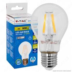V-Tac VT-1885D Lampadina LED E27 4W Bulb A60 Filamento Dimmerabile - SKU 4364