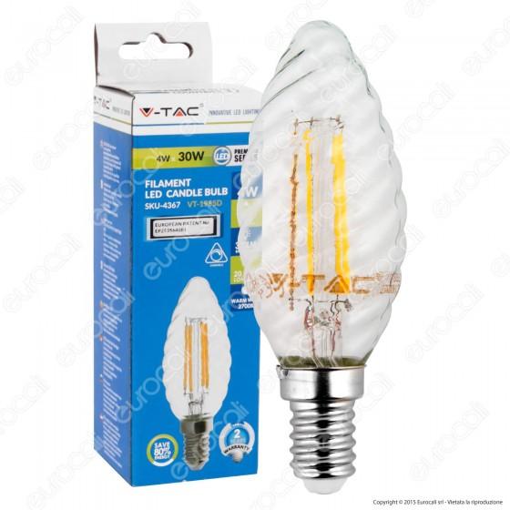 V-Tac VT-1985D Lampadina LED E14 4W Candela Twist Filamento Dimmerabile