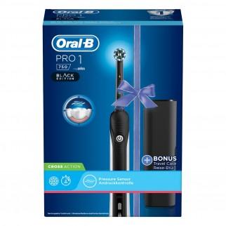 Oral-B Pro 1 750 Cross Action Spazzolino Elettrico Ricaricabile Nero con Custodia