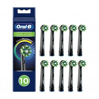 Oral-B CrossAction Testine di Ricambio per Spazzolino Elettrico Nere - Confezione da 10 testine