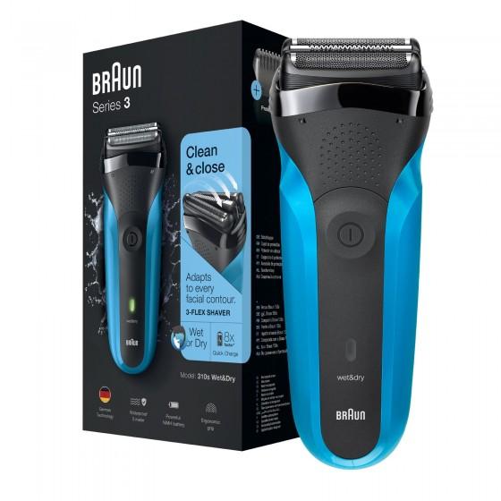 Braun Serie 3 310s Wet&Dry Rasoio Elettrico da Barba Uomo Ricaricabile Blu